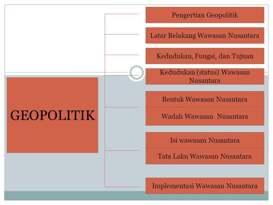 GEOPOLITIK Pengertian Geopolitik Latar Belakang Wawasan Nusantara Kedudukan, Fungsi, dan Tujuan Kedudukan (status) Wawasan Nusantara Bentuk Wawasan Nusantara Wadah Wawasan Nusantara Isi wawasan Nusantara Tata Laku Wawasan Nusantara Implementasi Wawasan Nusantara