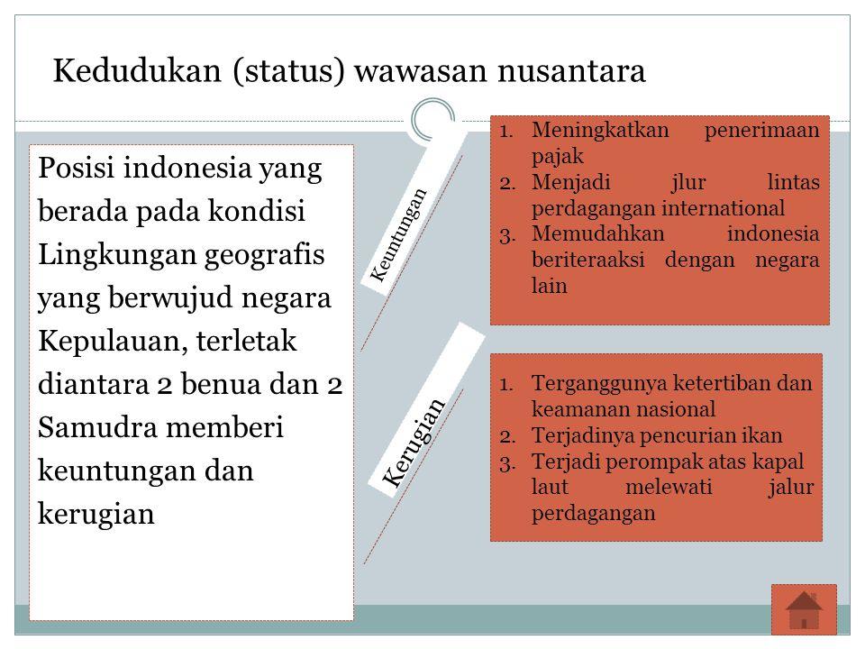 Kedudukan (status) wawasan nusantara Posisi indonesia yang berada pada kondisi Lingkungan geografis yang berwujud negara Kepulauan, terletak diantara 2 benua dan 2 Samudra memberi keuntungan dan kerugian 1.Meningkatkan penerimaan pajak 2.Menjadi jlur lintas perdagangan international 3.Memudahkan indonesia beriteraaksi dengan negara lain 1.Terganggunya ketertiban dan keamanan nasional 2.Terjadinya pencurian ikan 3.Terjadi perompak atas kapal laut melewati jalur perdagangan Keuntungan Kerugian