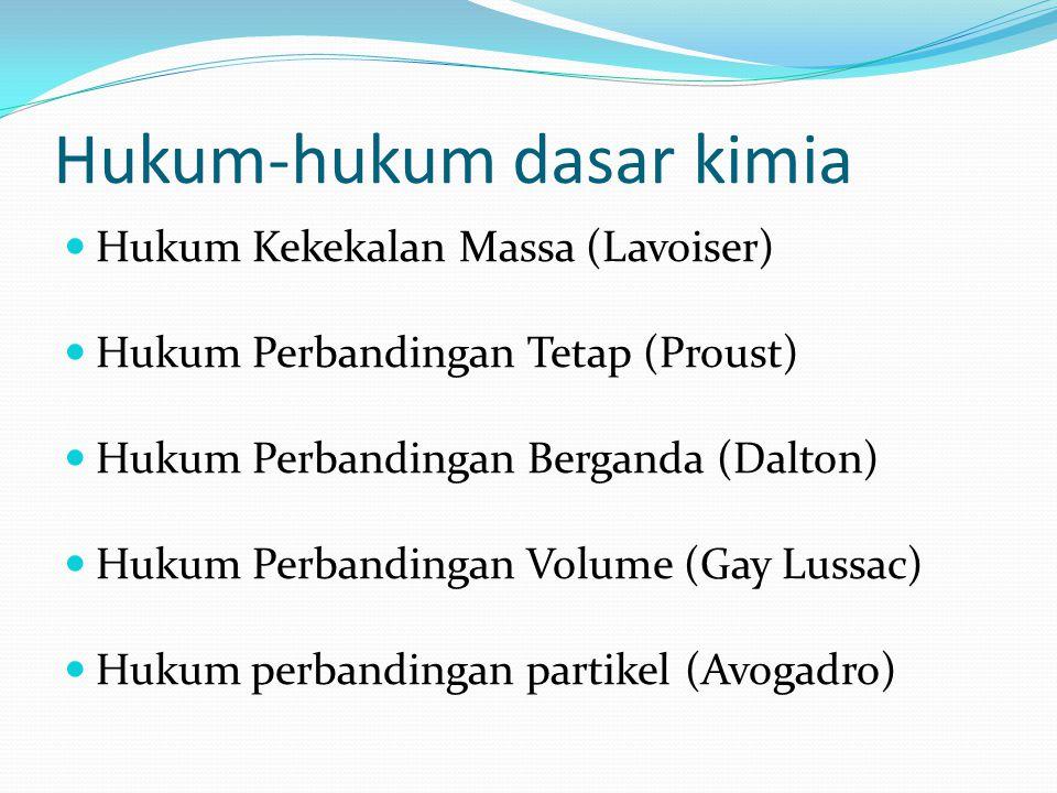Hukum-hukum dasar kimia Hukum Kekekalan Massa (Lavoiser) Hukum Perbandingan Tetap (Proust) Hukum Perbandingan Berganda (Dalton) Hukum Perbandingan Vol