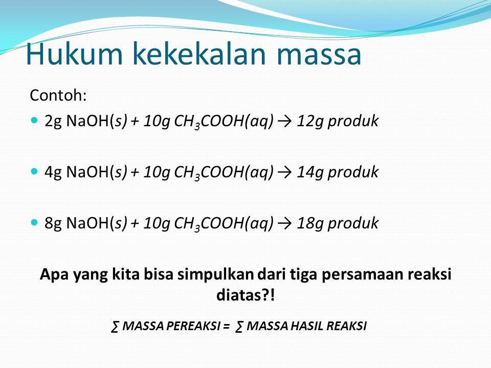 Hukum kekekalan massa Contoh: 2g NaOH(s) + 10g CH 3 COOH(aq) → 12g produk 4g NaOH(s) + 10g CH 3 COOH(aq) → 14g produk 8g NaOH(s) + 10g CH 3 COOH(aq) →