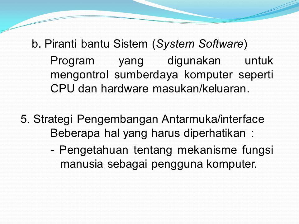 b. Piranti bantu Sistem (System Software) Program yang digunakan untuk mengontrol sumberdaya komputer seperti CPU dan hardware masukan/keluaran. 5. St