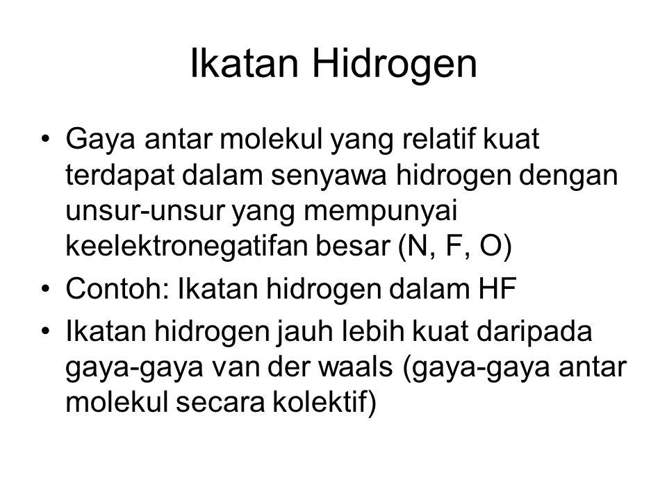 Ikatan Hidrogen Gaya antar molekul yang relatif kuat terdapat dalam senyawa hidrogen dengan unsur-unsur yang mempunyai keelektronegatifan besar (N, F, O) Contoh: Ikatan hidrogen dalam HF Ikatan hidrogen jauh lebih kuat daripada gaya-gaya van der waals (gaya-gaya antar molekul secara kolektif)
