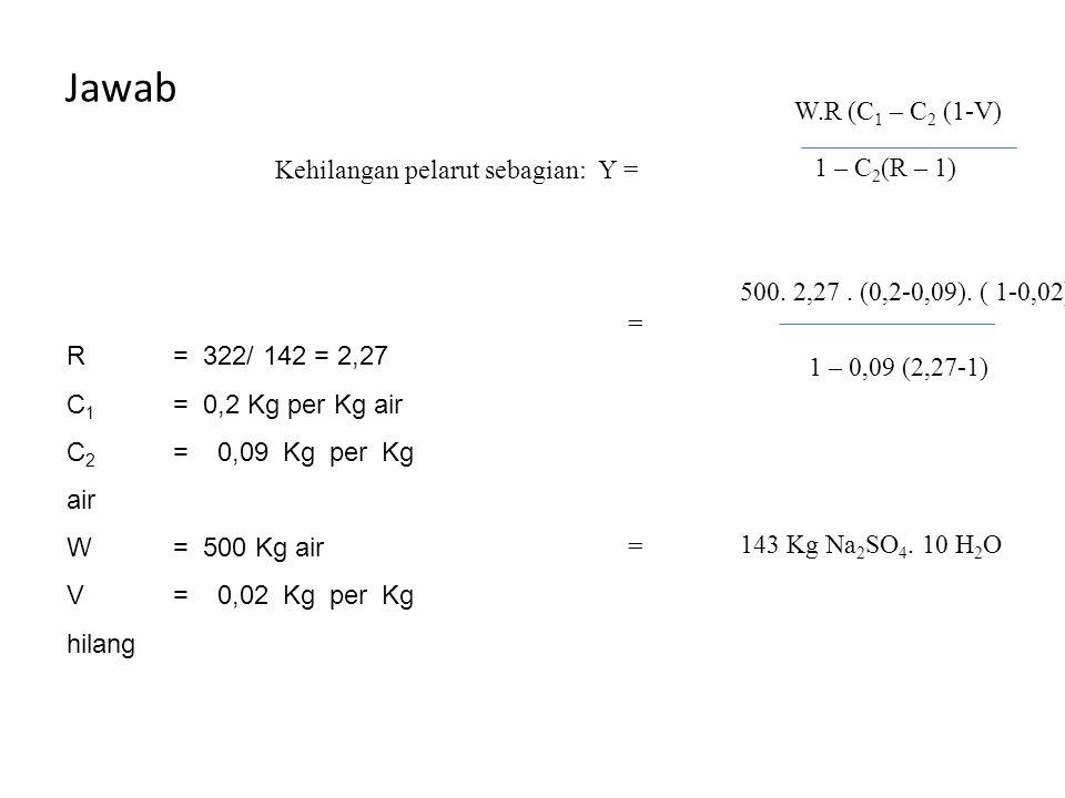 Jawab R = 322/ 142 = 2,27 C 1 = 0,2 Kg per Kg air C 2 = 0,09 Kg per Kg air W= 500 Kg air V= 0,02 Kg per Kg hilang W.R (C 1 – C 2 (1-V) 1 – C 2 (R – 1)