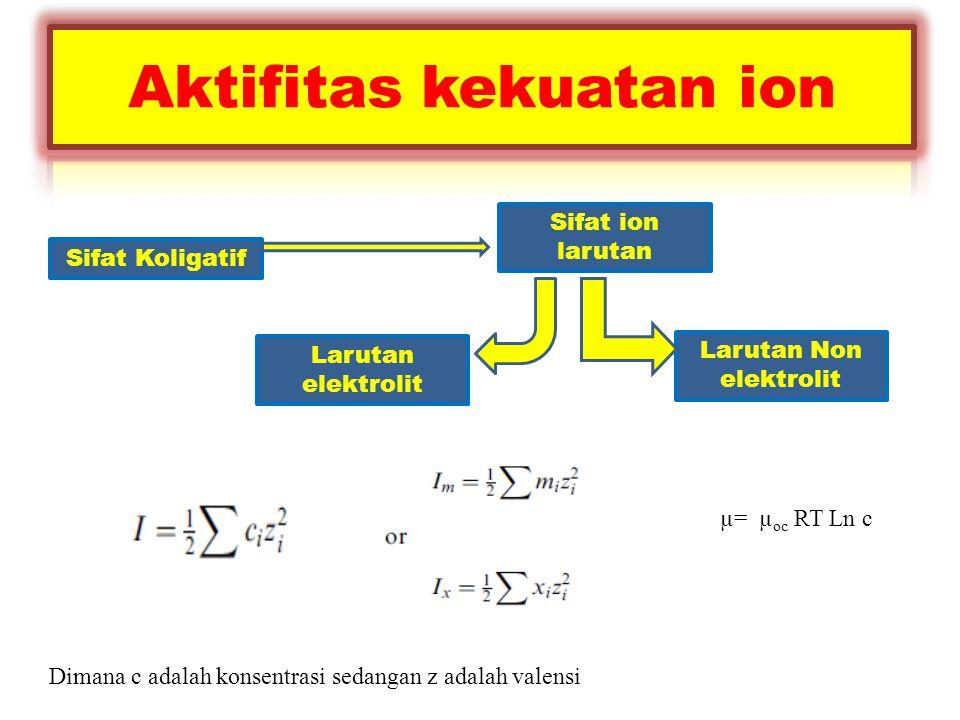 Sifat Koligatif Sifat ion larutan Larutan elektrolit Larutan Non elektrolit µ= µ oc RT Ln c Dimana c adalah konsentrasi sedangan z adalah valensi
