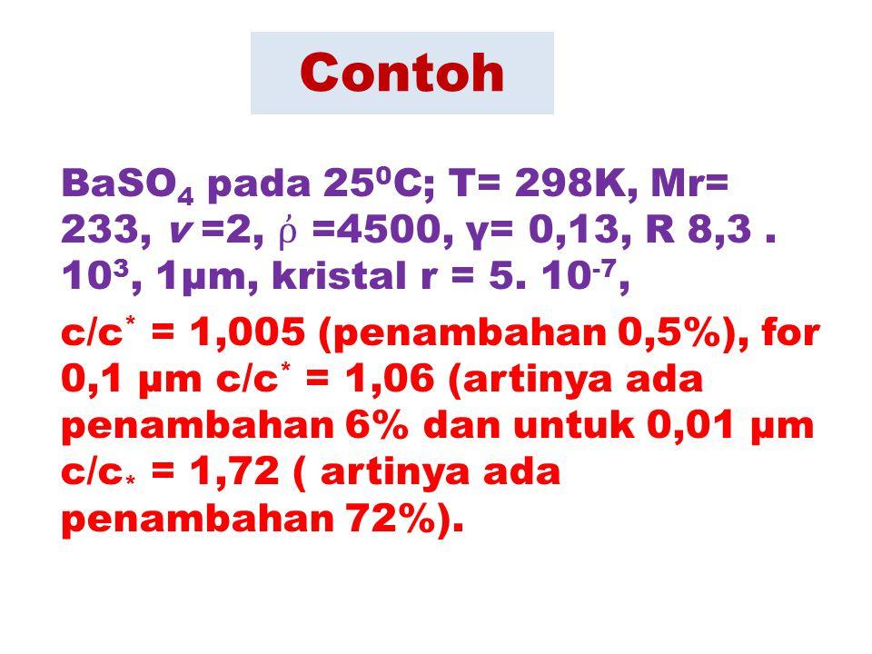 Contoh BaSO 4 pada 25 0 C; T= 298K, Mr= 233, v =2, ῤ =4500, γ= 0,13, R 8,3. 10 3, 1µm, kristal r = 5. 10 -7, c/c * = 1,005 (penambahan 0,5%), for 0,1