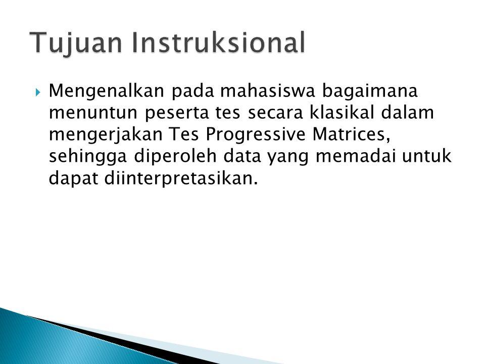  Pelajari dari Diktat Intruksi Pemeriksaan Psikologi secara Klasikal, bagian Tes PM.