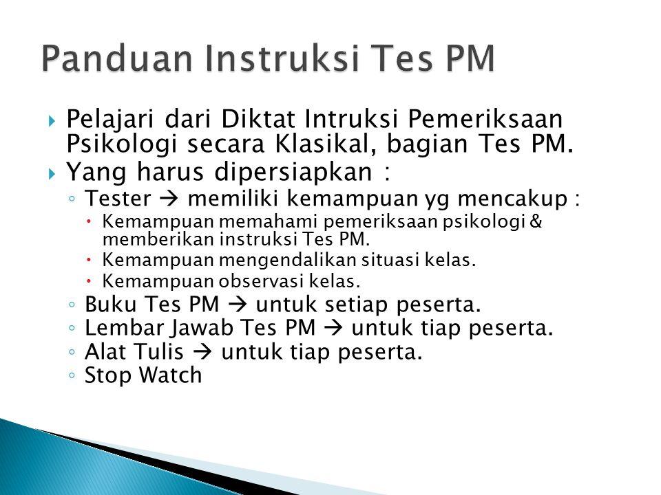  Memberikan Instruksi Tes PM di depan kelas.