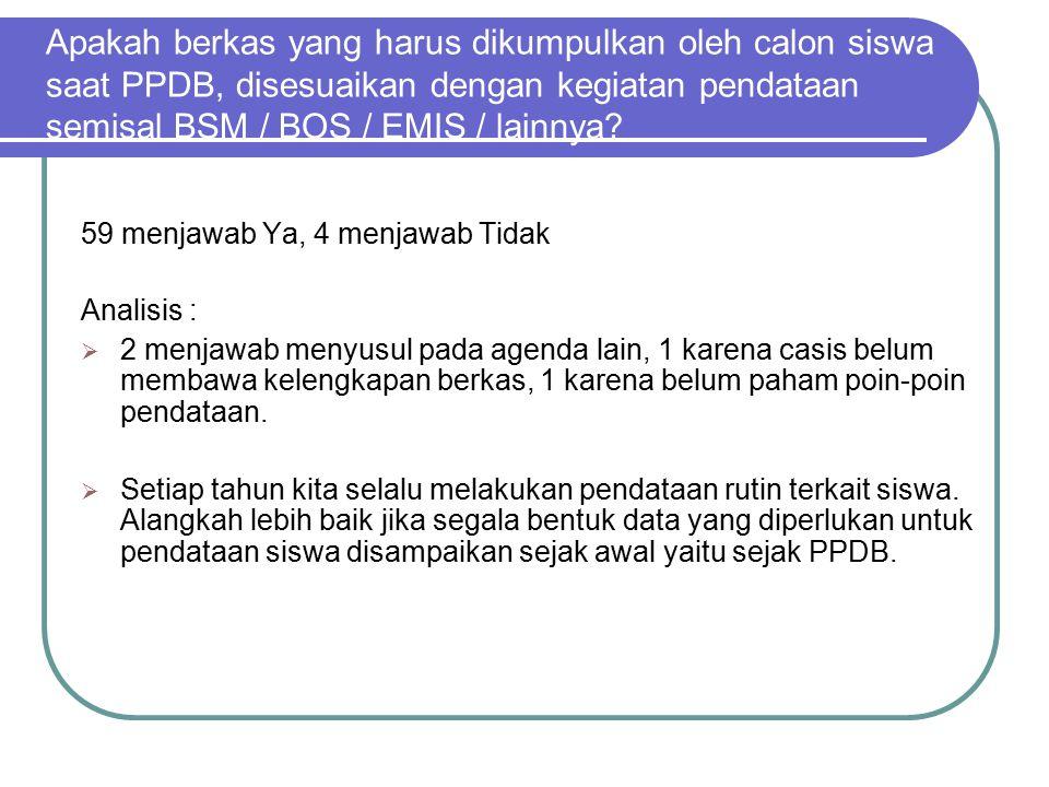 Apakah berkas yang harus dikumpulkan oleh calon siswa saat PPDB, disesuaikan dengan kegiatan pendataan semisal BSM / BOS / EMIS / lainnya.