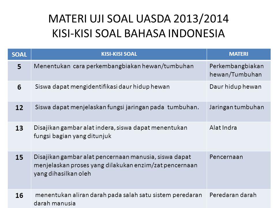 MATERI UJI SOAL UASDA 2013/2014 KISI-KISI SOAL BAHASA INDONESIA SOAL KISI-KISI SOALMATERI 5 Menentukan cara perkembangbiakan hewan/tumbuhanPerkembangb