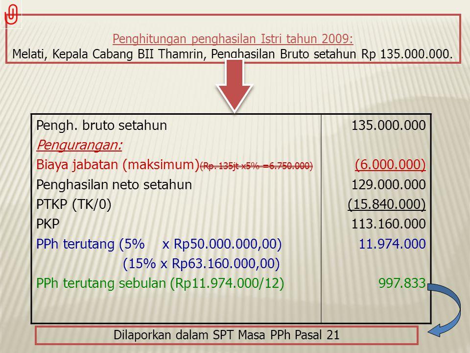 Penghitungan penghasilan Istri tahun 2009: Melati, Kepala Cabang BII Thamrin, Penghasilan Bruto setahun Rp 135.000.000. Pengh. bruto setahun Pengurang