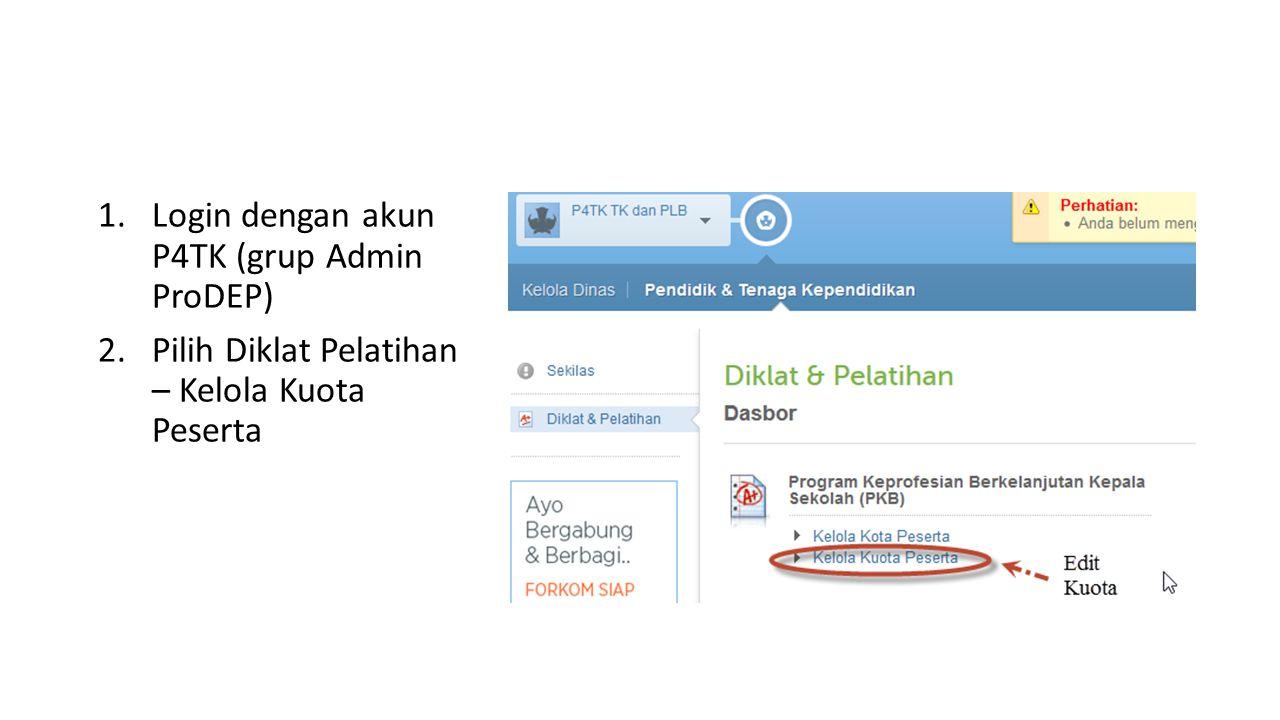 1.Login dengan akun P4TK (grup Admin ProDEP) 2.Pilih Diklat Pelatihan – Kelola Kuota Peserta