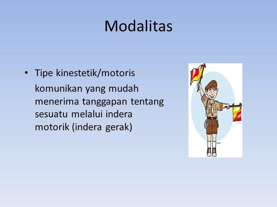 Modalitas Tipe kinestetik/motoris komunikan yang mudah menerima tanggapan tentang sesuatu melalui indera motorik (indera gerak)