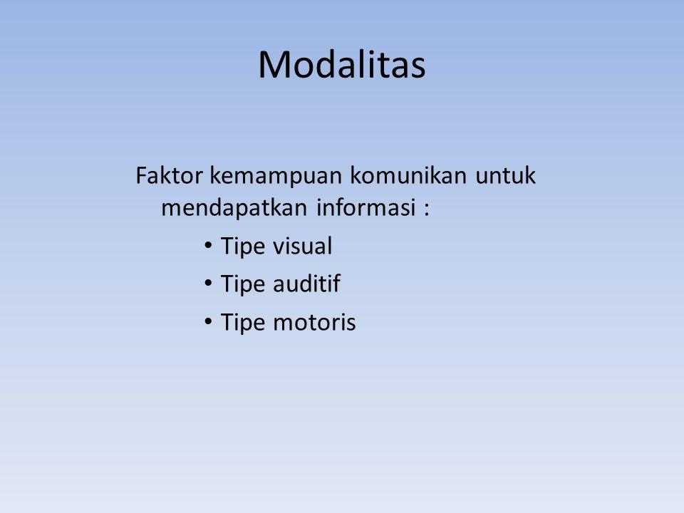 Modalitas Faktor kemampuan komunikan untuk mendapatkan informasi : Tipe visual Tipe auditif Tipe motoris