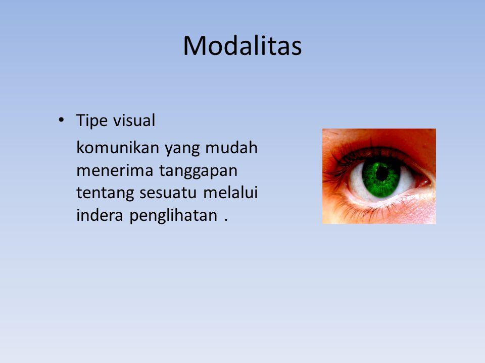 Modalitas Tipe visual komunikan yang mudah menerima tanggapan tentang sesuatu melalui indera penglihatan.