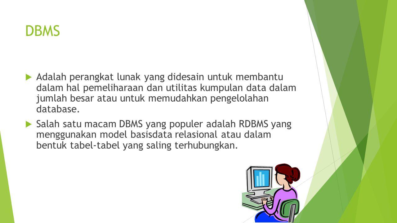DBMS  Adalah perangkat lunak yang didesain untuk membantu dalam hal pemeliharaan dan utilitas kumpulan data dalam jumlah besar atau untuk memudahkan pengelolahan database.