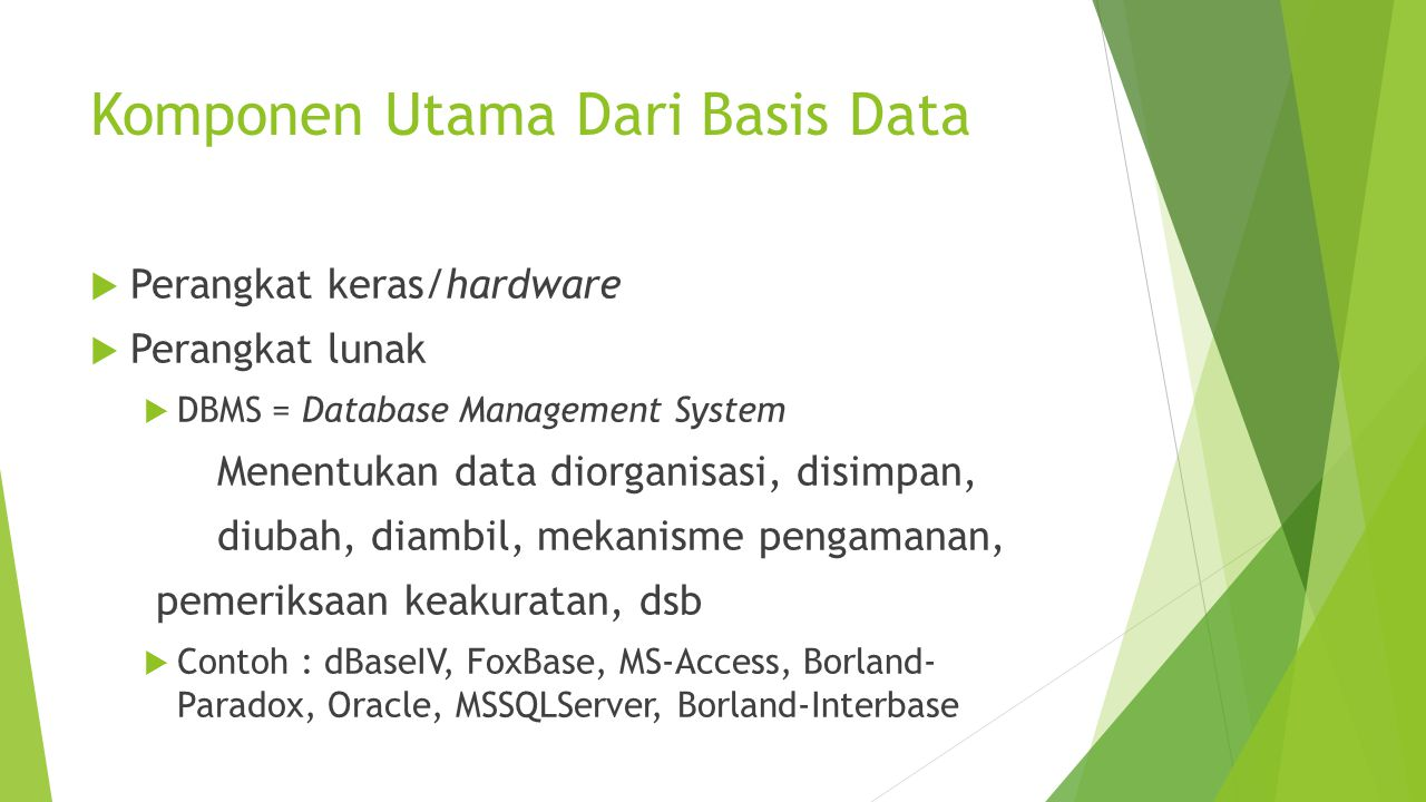 Komponen Utama Dari Basis Data  Perangkat keras/hardware  Perangkat lunak  DBMS = Database Management System Menentukan data diorganisasi, disimpan, diubah, diambil, mekanisme pengamanan, pemeriksaan keakuratan, dsb  Contoh : dBaseIV, FoxBase, MS-Access, Borland- Paradox, Oracle, MSSQLServer, Borland-Interbase