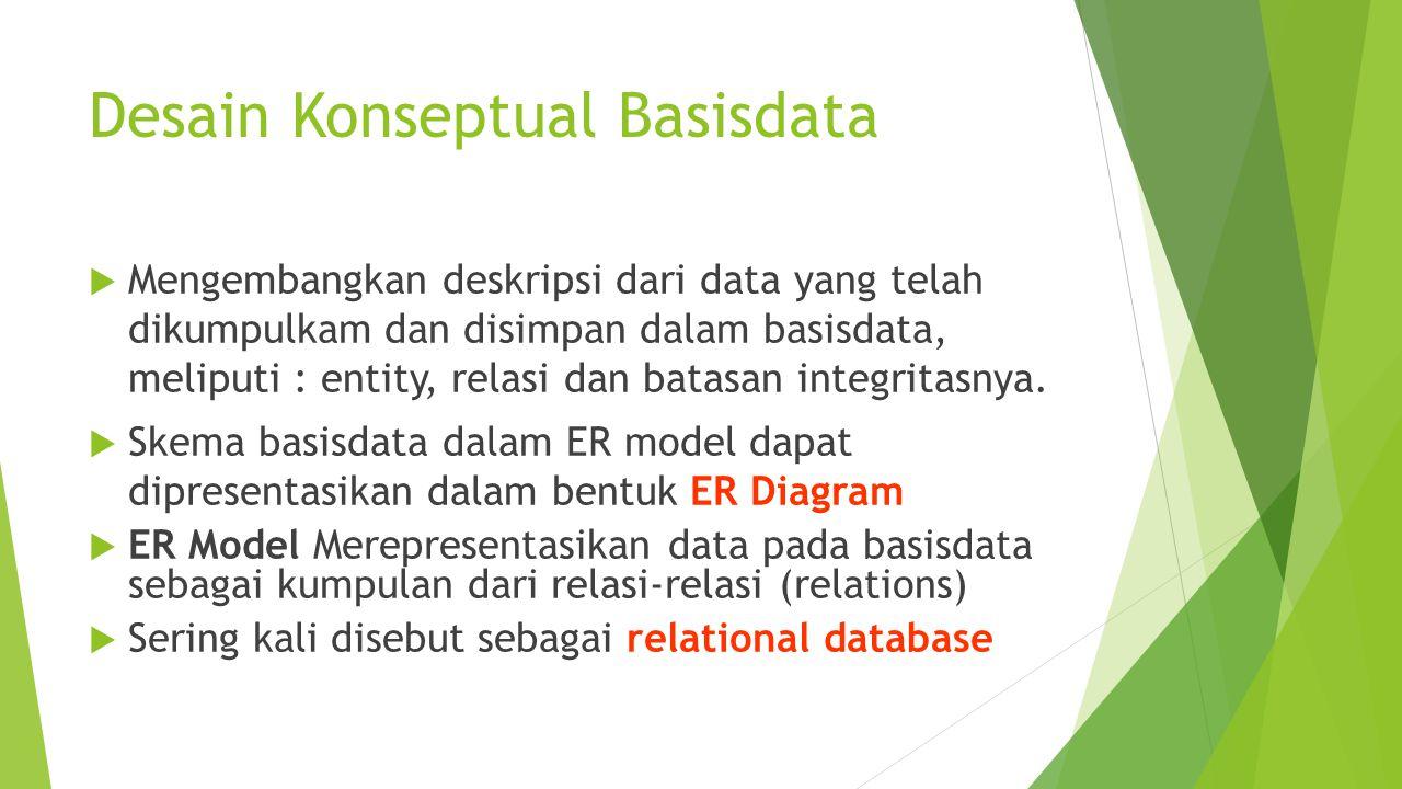 Desain Konseptual Basisdata  Mengembangkan deskripsi dari data yang telah dikumpulkam dan disimpan dalam basisdata, meliputi : entity, relasi dan batasan integritasnya.