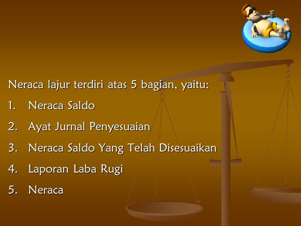 Neraca lajur terdiri atas 5 bagian, yaitu: 1.Neraca Saldo 2.Ayat Jurnal Penyesuaian 3.Neraca Saldo Yang Telah Disesuaikan 4.Laporan Laba Rugi 5.Neraca