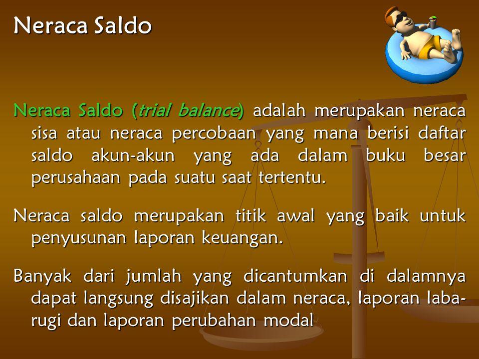 Neraca Saldo Neraca Saldo (trial balance) adalah merupakan neraca sisa atau neraca percobaan yang mana berisi daftar saldo akun-akun yang ada dalam buku besar perusahaan pada suatu saat tertentu.