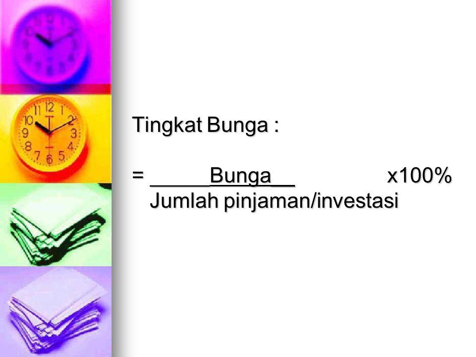 Tingkat Bunga : = _____Bunga__ x100% Jumlah pinjaman/investasi