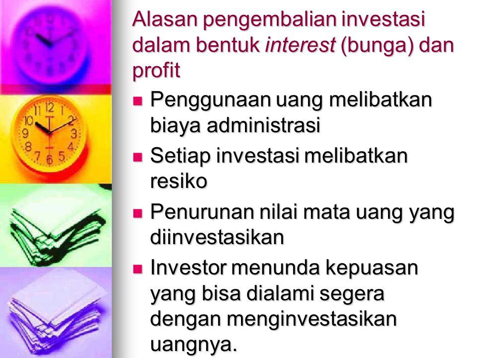 Alasan pengembalian investasi dalam bentuk interest (bunga) dan profit Penggunaan uang melibatkan biaya administrasi Penggunaan uang melibatkan biaya