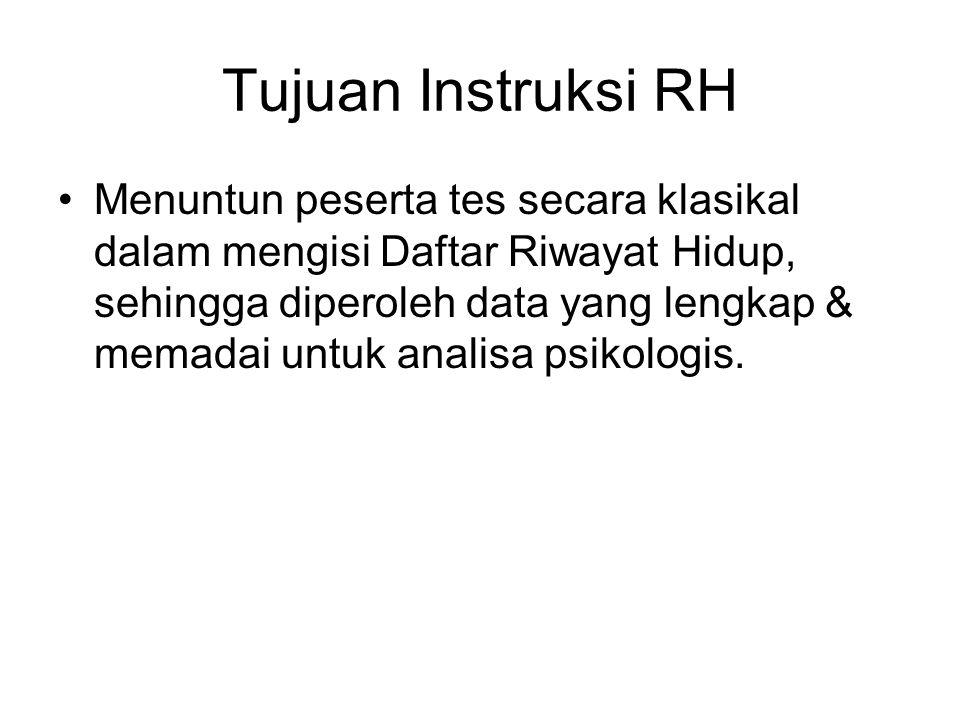 Panduan Instruksi RH Pelajari dari Diktat Intruksi Pemeriksaan Psikologi secara Klasikal, bagian RH.