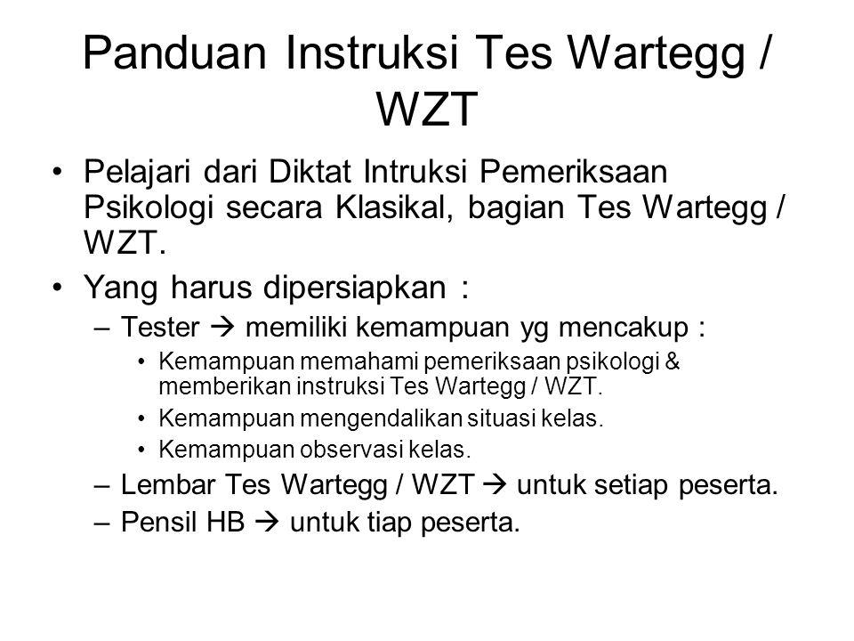 Panduan Instruksi Tes Wartegg / WZT Pelajari dari Diktat Intruksi Pemeriksaan Psikologi secara Klasikal, bagian Tes Wartegg / WZT. Yang harus dipersia