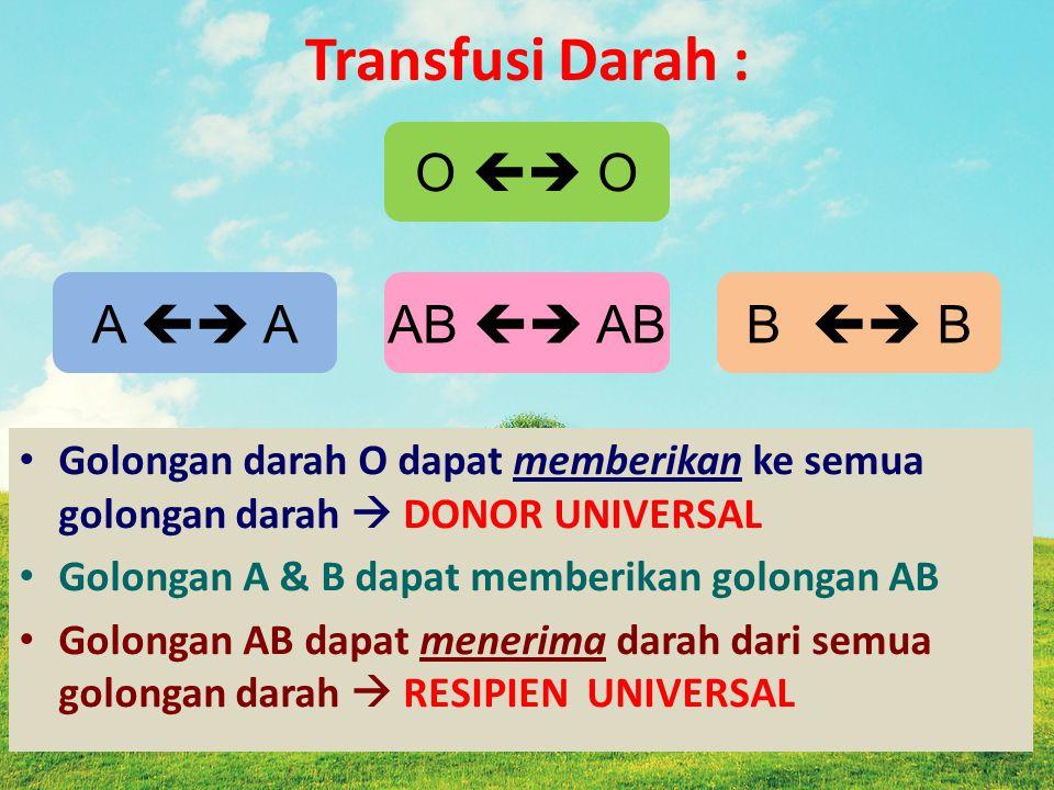 Transfusi Darah : Golongan darah O dapat memberikan ke semua golongan darah  DONOR UNIVERSAL Golongan A & B dapat memberikan golongan AB Golongan AB dapat menerima darah dari semua golongan darah  RESIPIEN UNIVERSAL O  O A  AAB  ABB  B