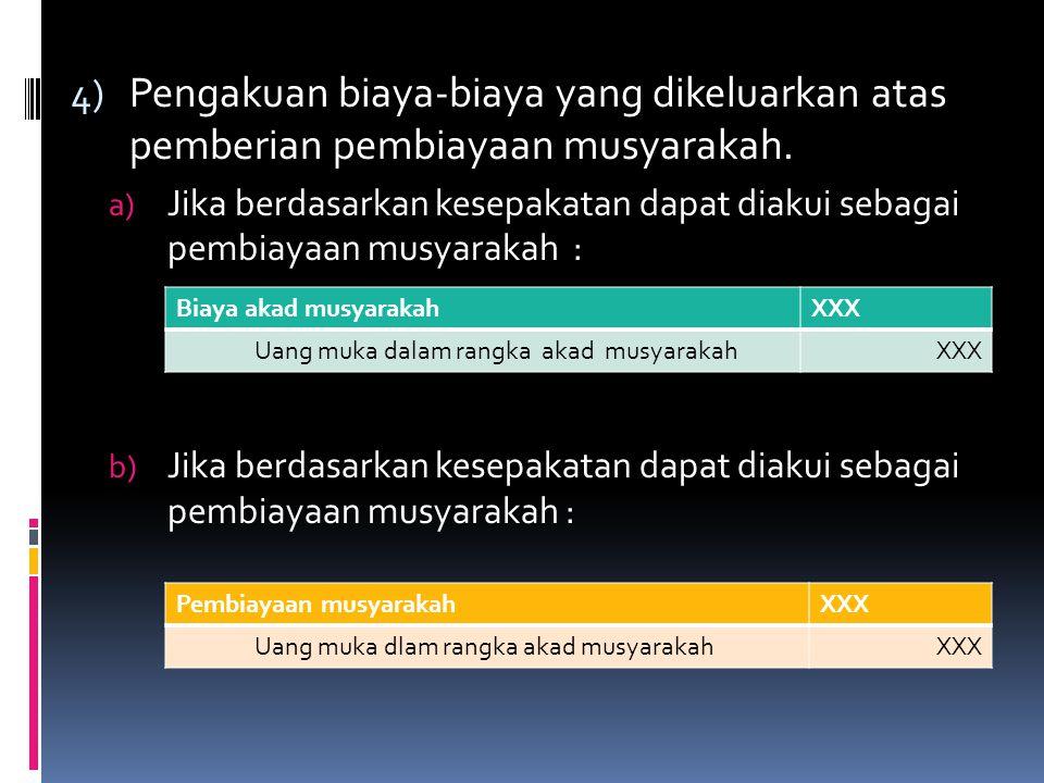 4) Pengakuan biaya-biaya yang dikeluarkan atas pemberian pembiayaan musyarakah. a) Jika berdasarkan kesepakatan dapat diakui sebagai pembiayaan musyar