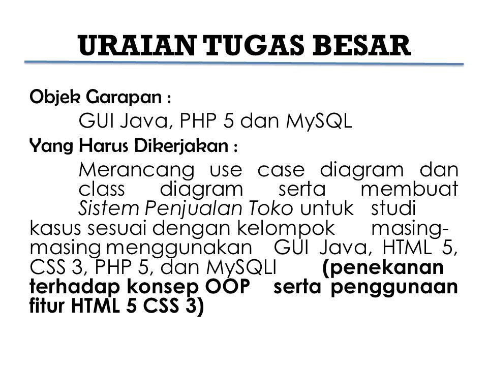 URAIAN TUGAS BESAR Objek Garapan : GUI Java, PHP 5 dan MySQL Yang Harus Dikerjakan : Merancang use case diagram dan class diagram serta membuat Sistem