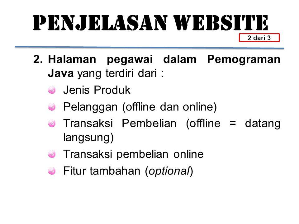 PENJELASAN WEBSITE 2.Halaman pegawai dalam Pemograman Java yang terdiri dari : Jenis Produk Pelanggan (offline dan online) Transaksi Pembelian (offlin