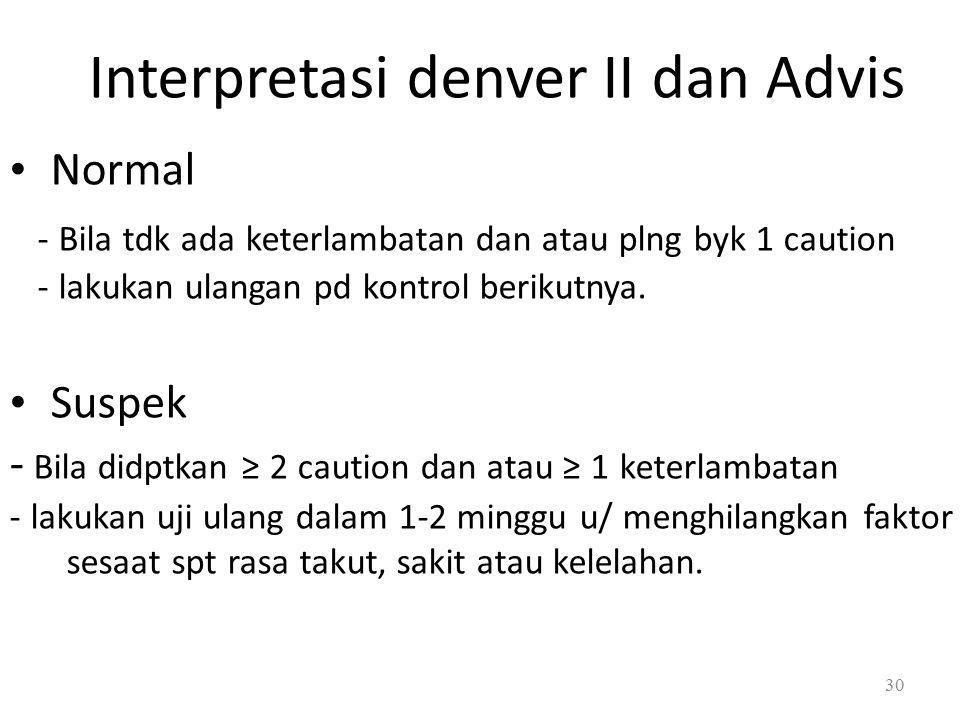 Interpretasi denver II dan Advis Normal - Bila tdk ada keterlambatan dan atau plng byk 1 caution - lakukan ulangan pd kontrol berikutnya.