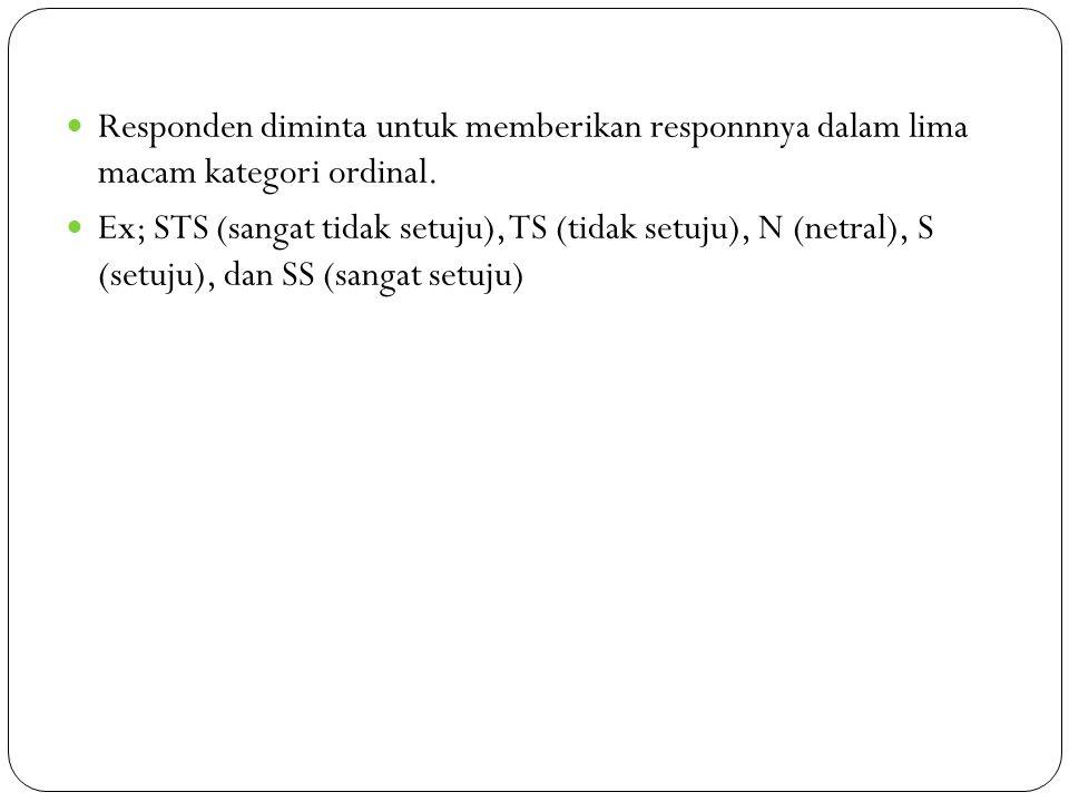 Responden diminta untuk memberikan responnnya dalam lima macam kategori ordinal. Ex; STS (sangat tidak setuju), TS (tidak setuju), N (netral), S (setu