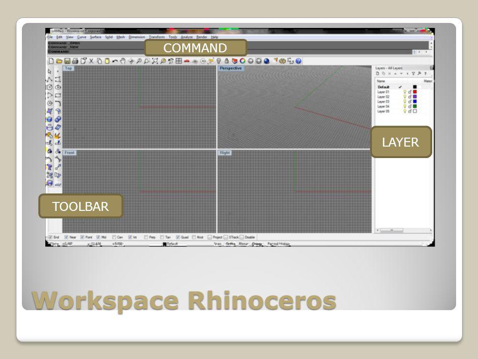 Workspace Rhinoceros LAYER COMMAND TOOLBAR