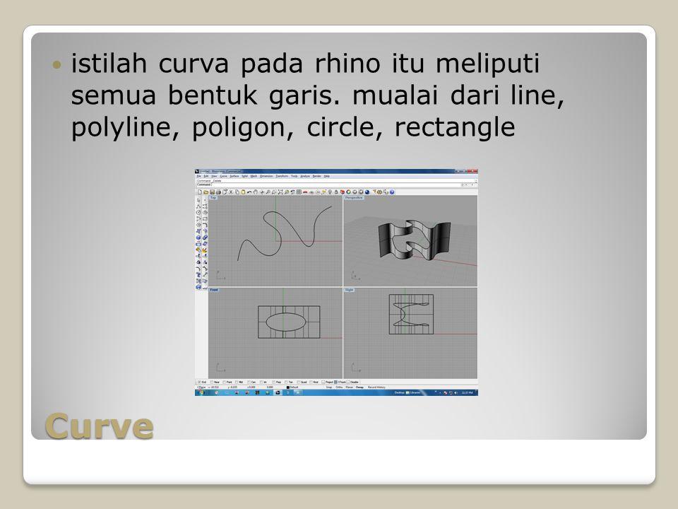 Curve istilah curva pada rhino itu meliputi semua bentuk garis. mualai dari line, polyline, poligon, circle, rectangle
