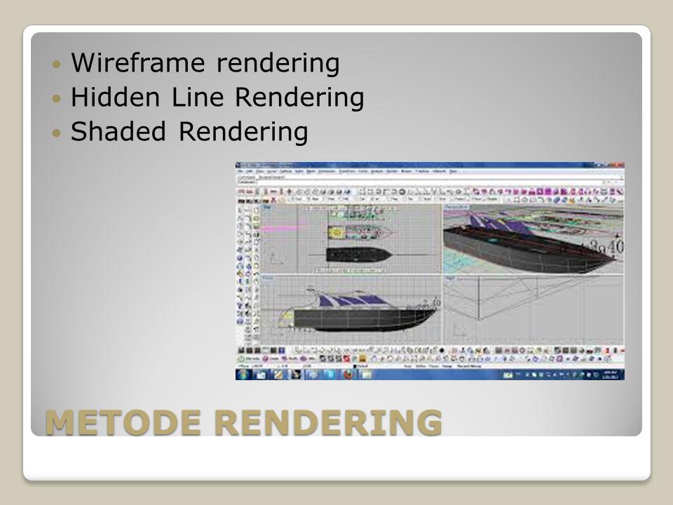 METODE RENDERING Wireframe rendering Hidden Line Rendering Shaded Rendering