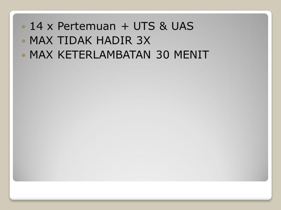 14 x Pertemuan + UTS & UAS MAX TIDAK HADIR 3X MAX KETERLAMBATAN 30 MENIT