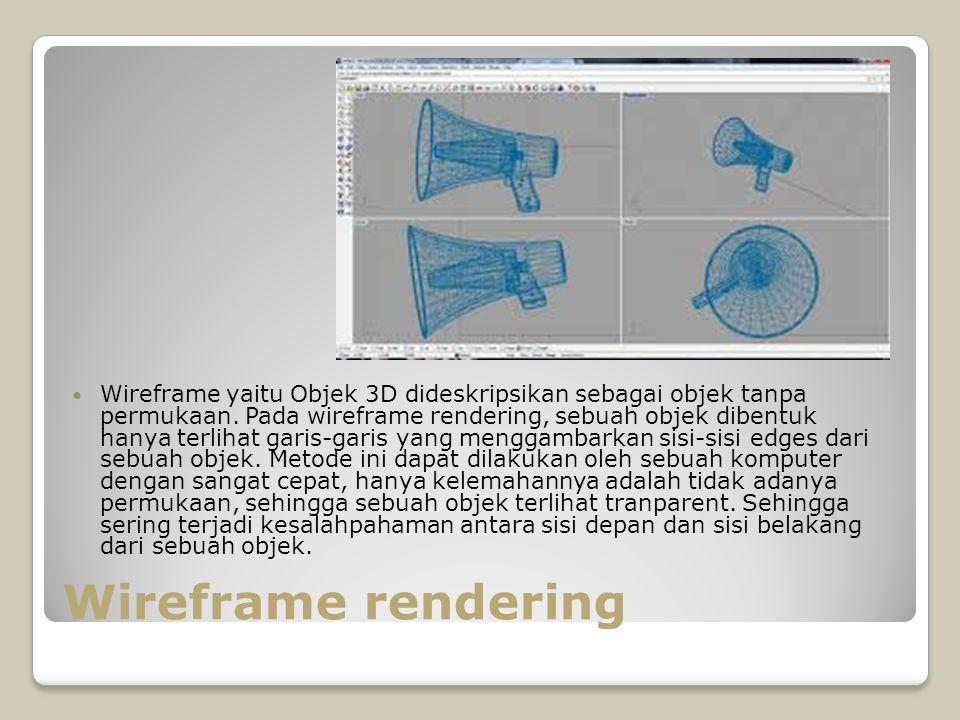 Wireframe rendering Wireframe yaitu Objek 3D dideskripsikan sebagai objek tanpa permukaan. Pada wireframe rendering, sebuah objek dibentuk hanya terli
