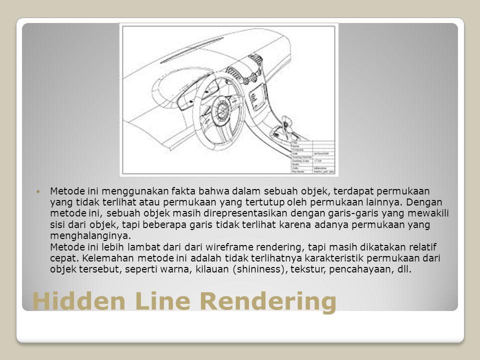 Hidden Line Rendering Metode ini menggunakan fakta bahwa dalam sebuah objek, terdapat permukaan yang tidak terlihat atau permukaan yang tertutup oleh