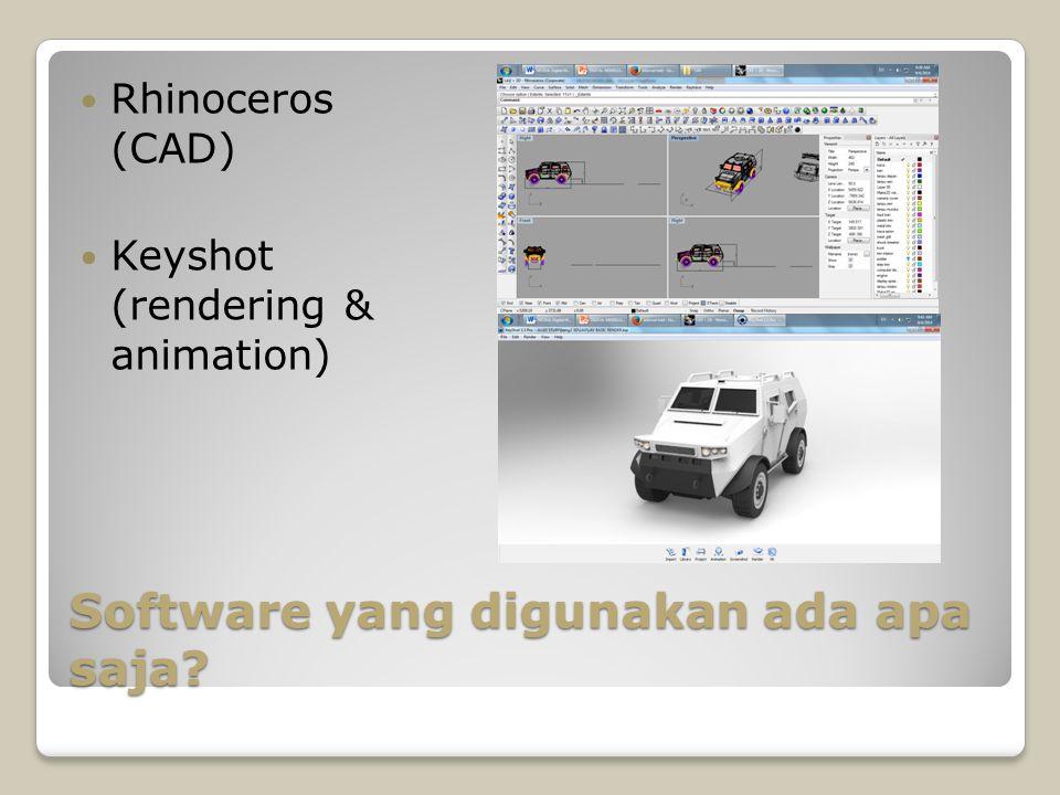 Software yang digunakan ada apa saja? Rhinoceros (CAD) Keyshot (rendering & animation)