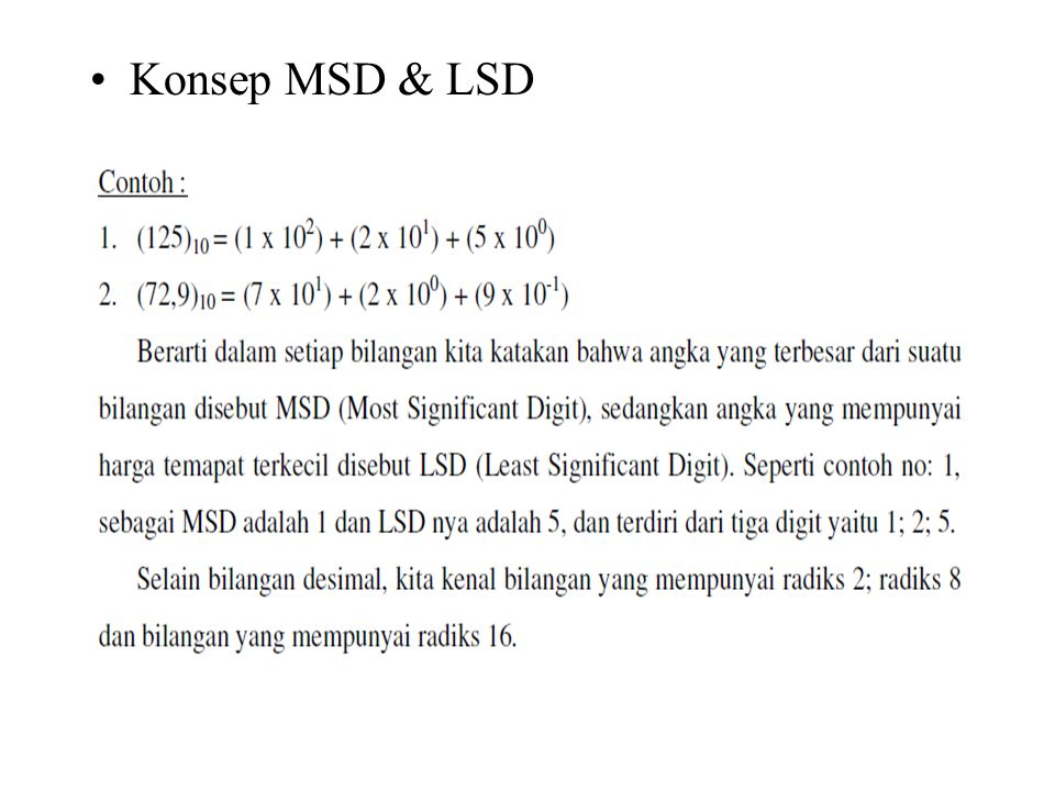 Konsep MSD & LSD