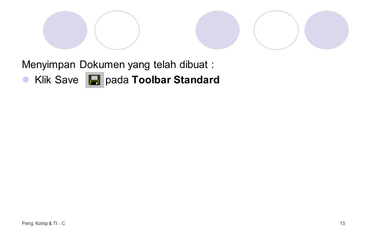 Peng. Komp & TI - C15 Menyimpan Dokumen yang telah dibuat : Klik Save pada Toolbar Standard