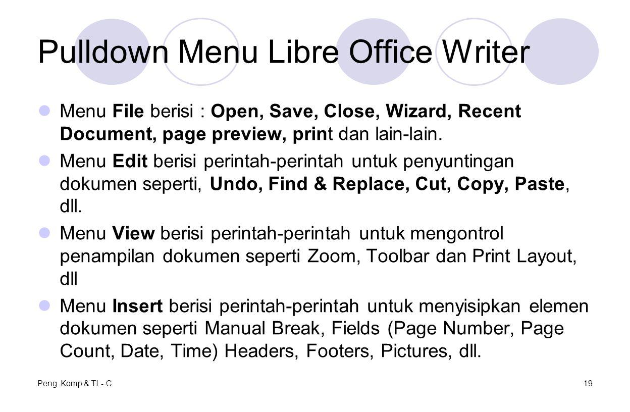 Pulldown Menu Libre Office Writer Menu File berisi : Open, Save, Close, Wizard, Recent Document, page preview, print dan lain-lain. Menu Edit berisi p
