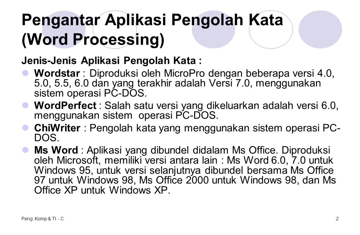Peng. Komp & TI - C2 Pengantar Aplikasi Pengolah Kata (Word Processing) Jenis-Jenis Aplikasi Pengolah Kata : Wordstar :Diproduksi oleh MicroPro dengan