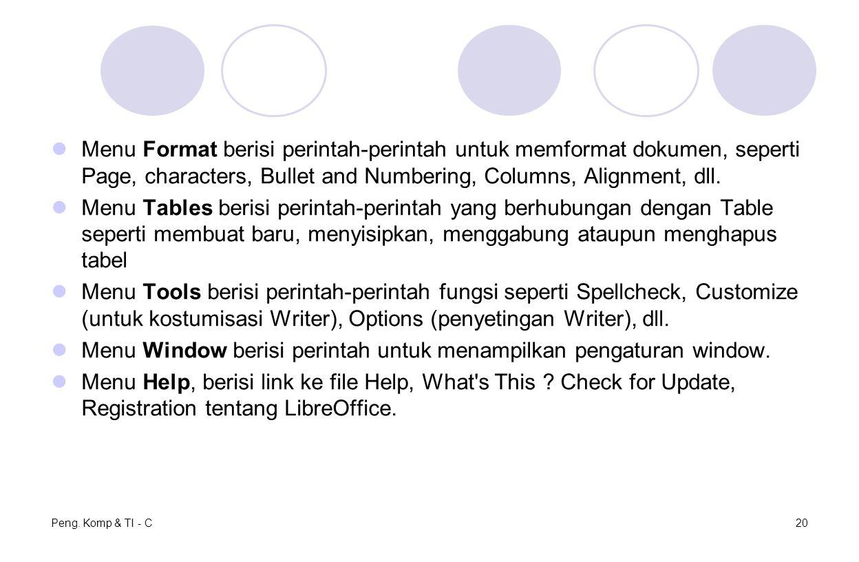 Menu Format berisi perintah-perintah untuk memformat dokumen, seperti Page, characters, Bullet and Numbering, Columns, Alignment, dll. Menu Tables ber