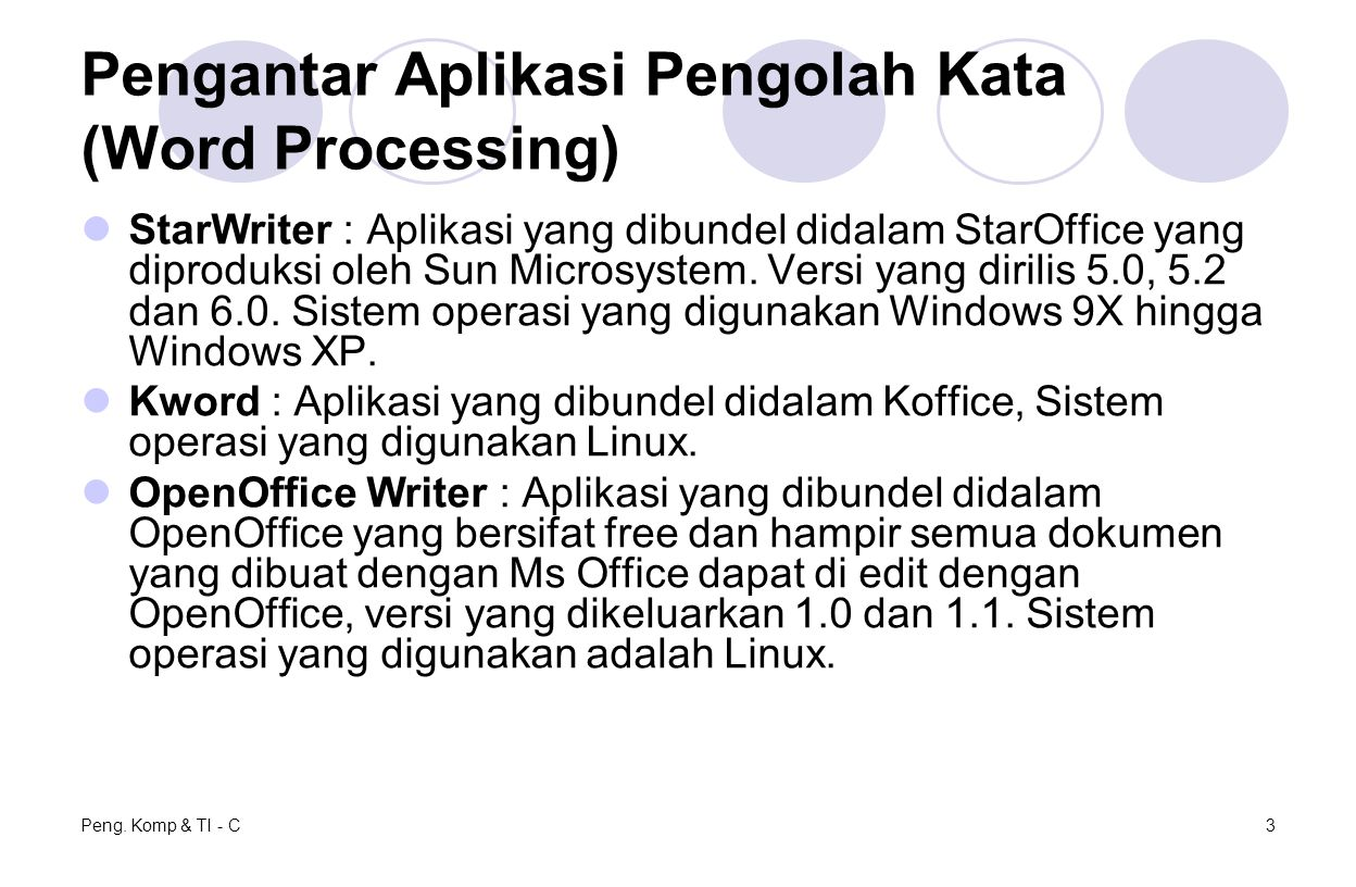 Peng. Komp & TI - C3 Pengantar Aplikasi Pengolah Kata (Word Processing) StarWriter : Aplikasi yang dibundel didalam StarOffice yang diproduksi oleh Su