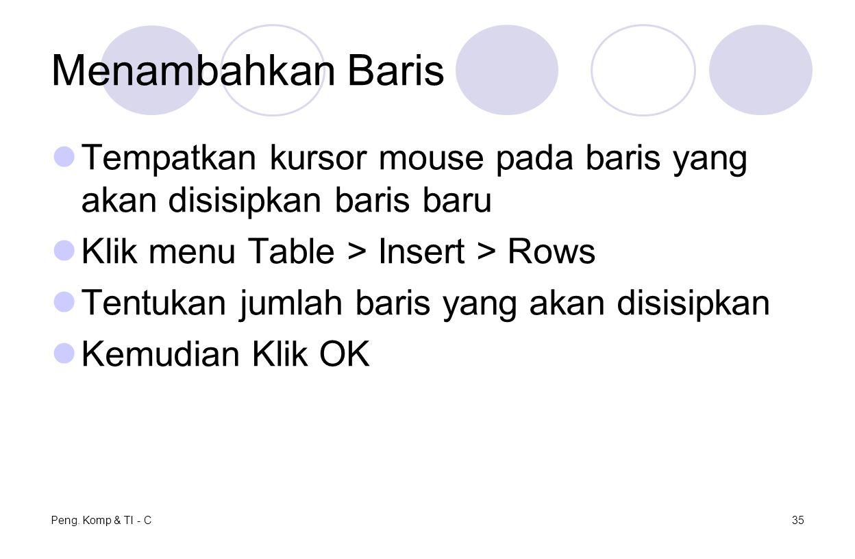 Menambahkan Baris Tempatkan kursor mouse pada baris yang akan disisipkan baris baru Klik menu Table > Insert > Rows Tentukan jumlah baris yang akan di