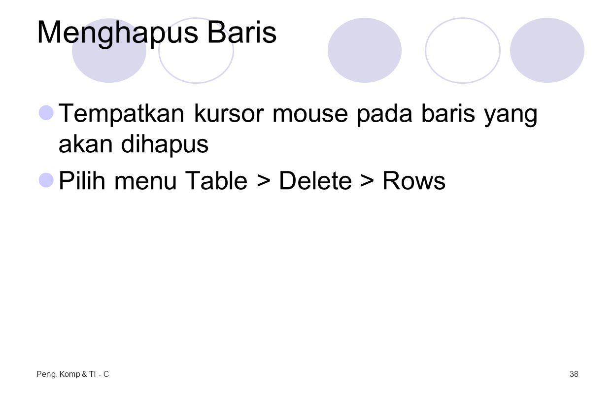 Menghapus Baris Tempatkan kursor mouse pada baris yang akan dihapus Pilih menu Table > Delete > Rows Peng. Komp & TI - C38