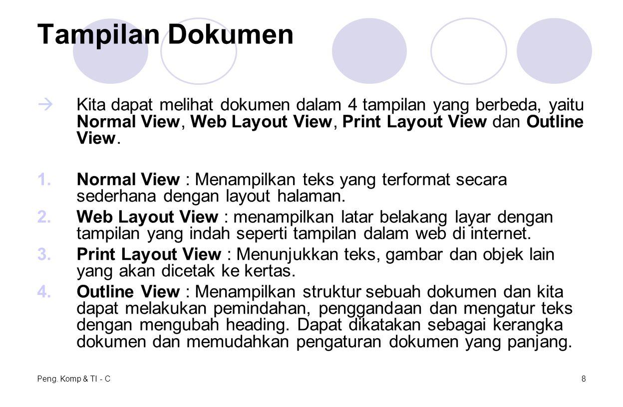 Peng. Komp & TI - C8 Tampilan Dokumen  Kita dapat melihat dokumen dalam 4 tampilan yang berbeda, yaitu Normal View, Web Layout View, Print Layout Vie