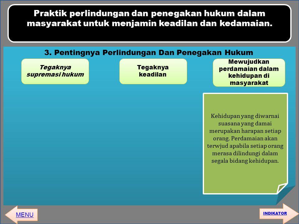 Praktik perlindungan dan penegakan hukum dalam masyarakat untuk menjamin keadilan dan kedamaian. MENU 3. Pentingnya Perlindungan Dan Penegakan Hukum T